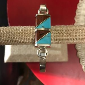 VTG Mexican Silver Turquoise Mahogany Bracelet